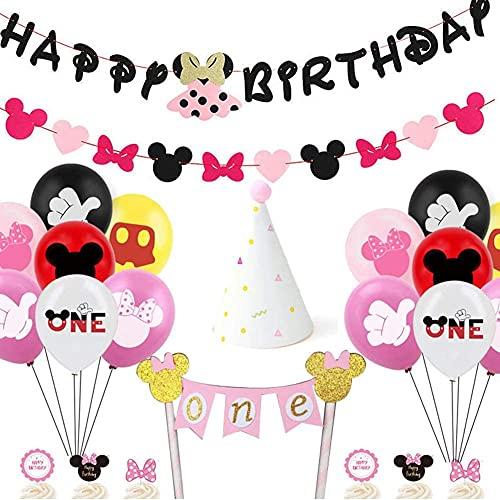 CYSJ Mickey e Minnie Forniture per Feste 23 PCS Decorazioni di Compleanno Topolino includono Banner,Palloncino, Cappello a Cilindro da Torta, Corona Baby Shower Decorazioni