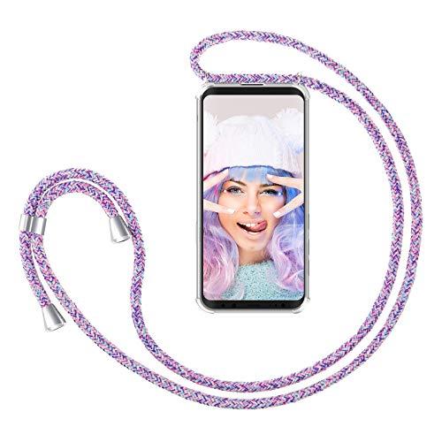 ZhinkArts Handykette kompatibel mit Samsung Galaxy S9 - Smartphone Necklace Hülle mit Band - Handyhülle Hülle mit Kette zum umhängen in Unicorn