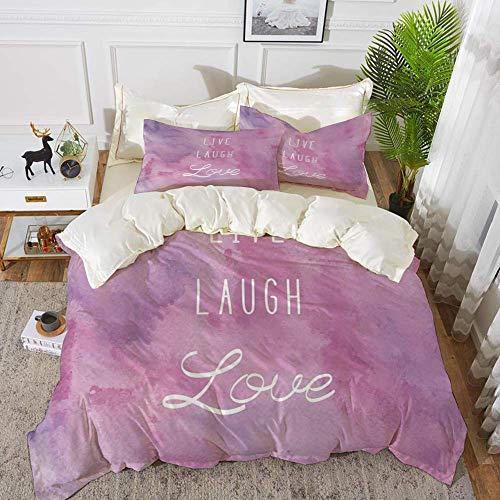 Live Laugh Love Decor,Dreamy Watercolors Brushstrokes with Positive Quote Decorative,Li,Hypoallergenic Microfibre Duvet Cover Set 260 x 220cm with 2 Pillowcase 50 X 80cm