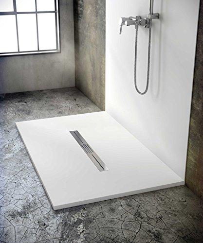 bodengleiche Duschwanne mit Duschrinne 160x110 aus Mineralguss - begehbare Dusche 110x160 - werkseitig einkürzbar