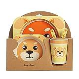 Cena infantil Diseño de animales para niños Vajilla de fibra de bambú de 5 piezas Linda dibujos animados Placa de impresión de animales puede usarse como regalo para sus nuevos padres y amigos DSB