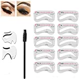 10 Pack Eyebrow Stencils Kit+2 Pieces Eyeliner Smoky Stencil Pad -3 Minutes Makeup, Perfectly Shape Your Brows with Our Premium Quality Reusable Brow Stencils
