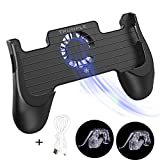Trunple PUBG Mobile Game Controller,Shooter Sensitive, Aim Trigger Controller, Ergonomic Gamepad with Cooling Fan, Portable USB Charger, Mobile Controller L1R1, Supports 4.5-6.5 Inch Smartphone (Black)