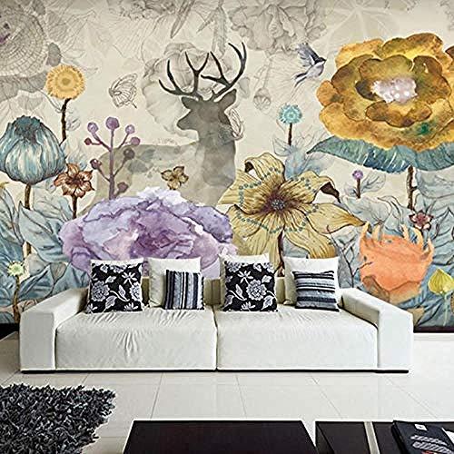 TV Background Wallpaper Nordic Garden Mural elk Flower Living Room Bedroom Study TV Background Wallpaper Seamless W Custom 3D Wallpaper Paste Living Room The Wall for Bedroom Mural border-200cm×140cm