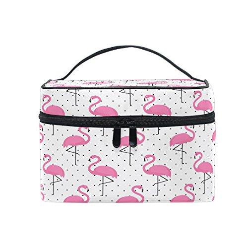 Sac de maquillage, Rose Cute Flamingo Dot Imprimé Cosmétique de stockage de toilette Organiseur Coque Grande Poignée de voyage personnalisé Pouch avec compartiments pour Teenage Girl Femme L