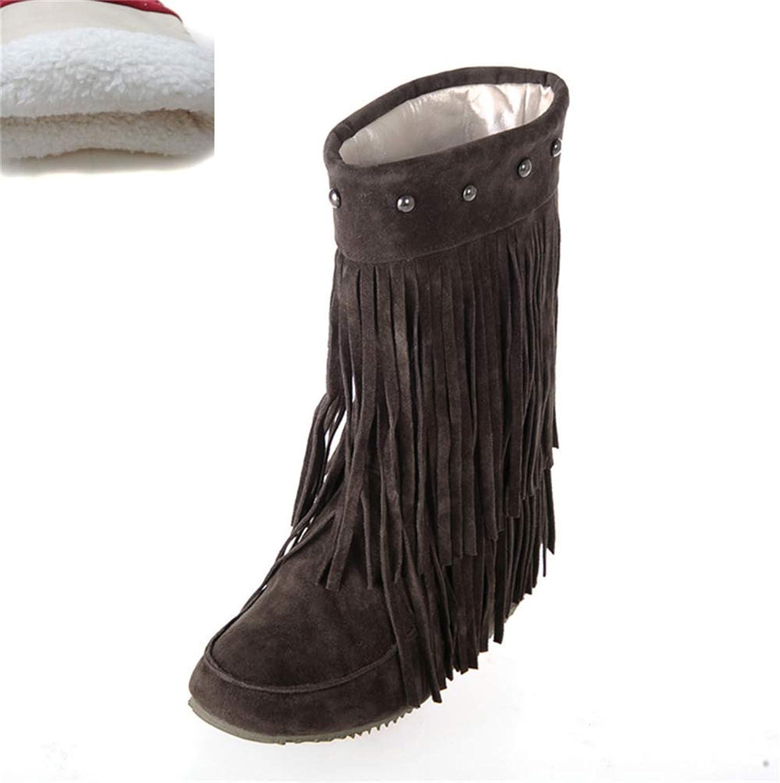 ZHRUI Damen Slip On Stiefel Bequeme Mitte der Wade mit Niet Winter Warme Schuhe für Fashioon Street Girls Outdoor (Farbe   braun Plush, Größe   5.5 UK)  | Meistverkaufte weltweit