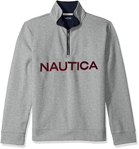 Nautica Herren Chest Logo 1/4 Zip Fleece Sweatshirt, Grey Heather, Large