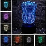 Luz de noche para niños Nuevos dientes de dientes 3D frescos Lámpara USB Led Ambiente RGB Luz de noche Coloridos Niños Juguetes Dormitorio Escritorio Mesa Luz como decoración de regalo