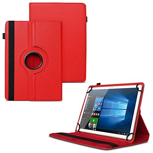 UC-Express Schutzhülle kompatibel für Odys Cosmo Win X9 Odys Winpad X9 Tablet Universal aus Kunstleder Hülle Tasche Standfunktion 360° Drehbar Cover Hülle, Farben:Rot