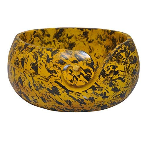 Wooden Yarn Bowl hand painted made by Indian Artisans - Yellow/Black - Happy Mother's Day Collection 2020