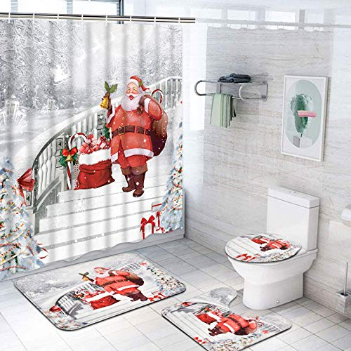 Dekoresyon 4 Pcs Merry Christmas Shower Curtain Sets with Non-Slip Rugs, Toilet Lid Cover and Bath Mat, Santa Claus Shower Curtain with 14 Hooks, White Night Snow Candy Cane Bathroom Decoration