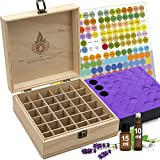 Essential Oil Box - 36 Slots. Fits Tall Roller Bottles. Natural Pine, Wooden Storage Case. Free EO...