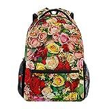 Romantic Nature - Mochila escolar de gran capacidad, diseño de rosas