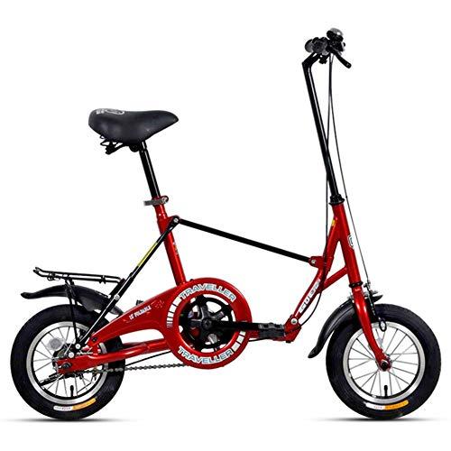 DJYD Mini Folding Bikes, 12-Zoll-Single Speed Super Compact faltbares Fahrrad, High-Carbon Stahl Leichtes Gewicht Faltrad mit Rück Carry-Rack, Gelb FDWFN (Color : Red)