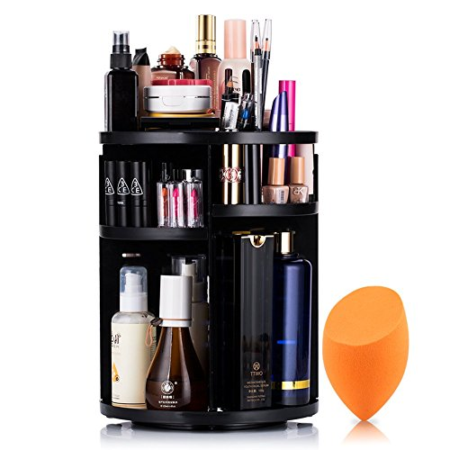 Mokaro 360 Degree Rotating Makeup Organizer for Mothers Day Gifts Extra Large Capacity Adjustable Multifunctional Cosmetic Storage Box for Skin Care Products Makeup Sponges (Black)