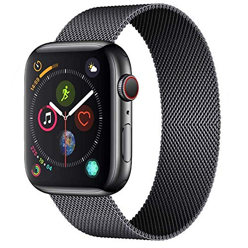 ORIbox Compatible for Apple Watch Band 42mm 44mm, Adjustable Stainless Steel Mesh Wristband Sport Loop for iWatch Series 5 4 3 2 1,Black, Model Number: Wristband 42MM/44MM