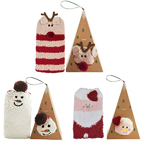 Bageek 3 Paia Calze Natalizie Babbo Natale Cesto Pupazzo Neve Stampa Calze Calde Calze Equipaggio per Donne Calze Invernali Regalo Natale