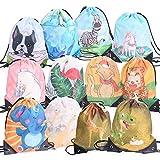 Ulikey 12 Pack Bolsas de Cuerdas para Infantil, Encantador Cordón Dibujos Animados Bolsas, Mochila con Cordón Niños Bolsas Regalo Artículos de Fiesta