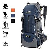 EGE Hiking Backpack with Rain cover, 50L Large Rucksack for Men Women, Tear