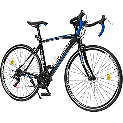 Max4out Road Bike for Men and Women with Aluminum Alloy Frame, Featuring 21 Speed Shimano Shifter, 700C Wheel and Y Brake Bicycles Blue