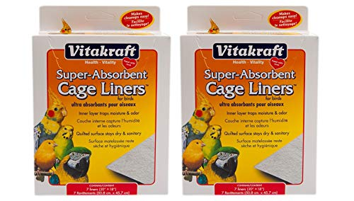 """Vitakraft 512071 7-Pack Super Absorbent Cage Liners for Birds, 20"""" X 18"""" (2 Pack)"""