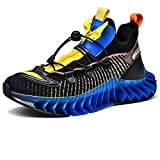 Besroad Sports Road Running Sneakers Breathable Fashion Wide Walking Shoes for Men Black 10.5