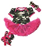 Petitebella Camouflage Hot Pink Bodysuit with Shoes Baby Dress Girl Cloth Nb-18m (0-3 Months)