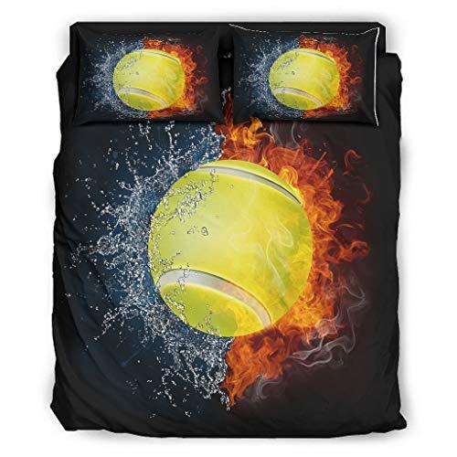 DAMKELLY Store Bettdecke Tennis Mikrofaser - 4-teiliges Bettbezug-Set Bettdecke für die ganze Saison White 228x264cm