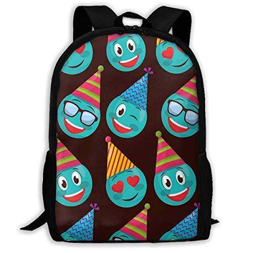Mochila Escolar Happy Birthday Happy Emoji Bookbag Bolsa de Viaje Informal para Adolescentes, niños, niñas