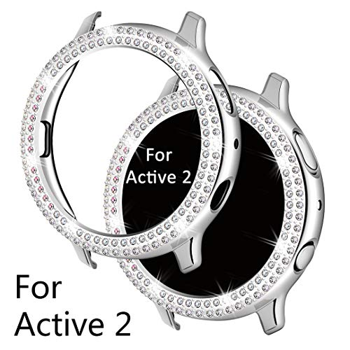 Falandi Schutzhülle für Samsung Galaxy Watch Active 2, Doulbe Rows Bling Kristall Diamanten Platte, Silber Displayschutzfolie Rahmen Schutz Gesicht Abdeckung