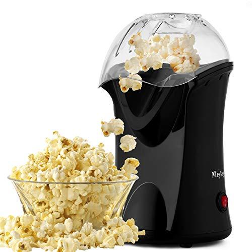 Hopekings Macchina per Pop Corn Macchina Popcorn Compatta ad aria calda senza grassi,Design a Bocca Larga, 1200 W, include Misurino e Coperchio Rimovibile,Nero