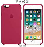 Funda Silicona para iPhone 5, 5s, SE Silicone Case Calidad, Textura Suave, Forro Interno Microfibra (Rojo-Rosa)