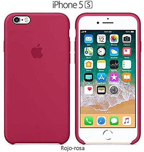 Funda Silicona para iPhone 5 y 5s Silicone Case Calidad, Textura Suave, Forro Interno Microfibra (Rojo-Rosa)