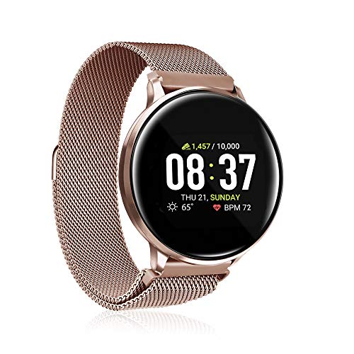 iTouch Sport Round Smartwatch with Waterproof Technology, Heart Rate Monitor, Multi-Sports Mode, Pedometer, for Android and iOS Smart Phones - Metal Mesh Strap with Magnetic Closure (Rose Gold)