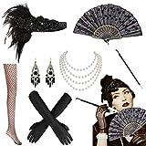 MMTX Anni '20 Flapper Accessori, 1920s Gatsby Accessori di Charleston Capelli Collana Cerchietto Guanti Orecchini Nero Calze a Rete Porta Sigarette Accessori Costume di Pasqua per Donna - 7 pezzi