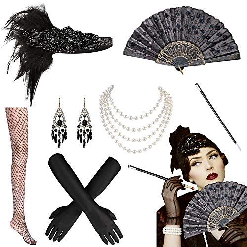 MMTX Años 20 Set de Accesorios Disfraz, 1920s Flapper Disfraces Accesorios de Charlestón Diadema Pendientes Collar de Perlas Guantes Porta-Cigarrillos para Mujer Disfraz Gatsby - 7 Piezas
