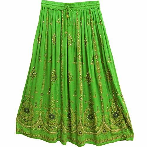 Yoga Trendz Womens Indian Sequin Crinkle Broomstick Gypsy Long Skirt (Green)
