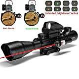 Alrebeto Rifle Scope Combo C4-16x50EG Tactical Dual Illuminated with Red Dot Sight and 4 Holographic Reticle...