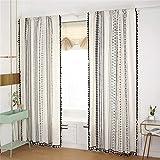 Styho Cortinas opacas bohemias para dormitorio – 2 paneles étnicos bohemios cortinas con bolsillo para barra, algodón, Arena Beige, 59' x 71'(150 x 180cm)