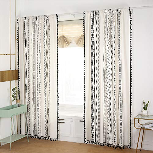 YOU SA 2-Panel Black Striped Window Curtains with Tassel Cotton/Linen Geometric Design Curtain for Bedroom Rod Pocket Top (59''Wx86''L,Black)