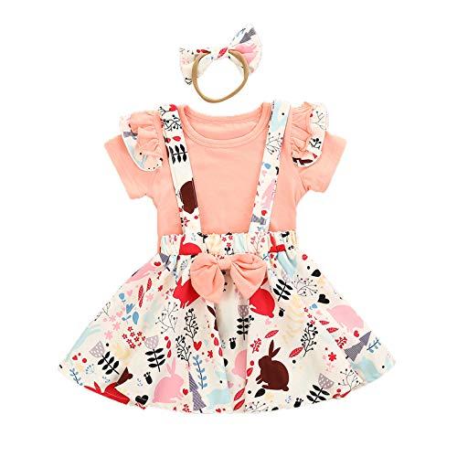 Carolilly Conjunto de ropa de verano para niña, 2 piezas, ropa de verano, diseño de conejos de dibujos animados Estilo D. 18-24 Meses