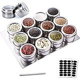 SaiXuan 12pcs Especias de Cocina Tarro,Frascos de Especias Magnéticas de Acero Inoxidable,Ideal para Sal, Pimienta, Hierbas y Especias