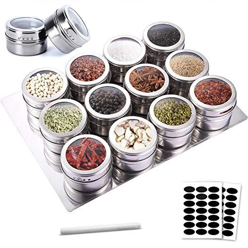 SaiXuan 12pcs Especias de Cocina Tarro,Frascos de Especias Magnéticas de Acero Inoxidable,Ideal para Sal, Pimienta,Hierbas y Especias