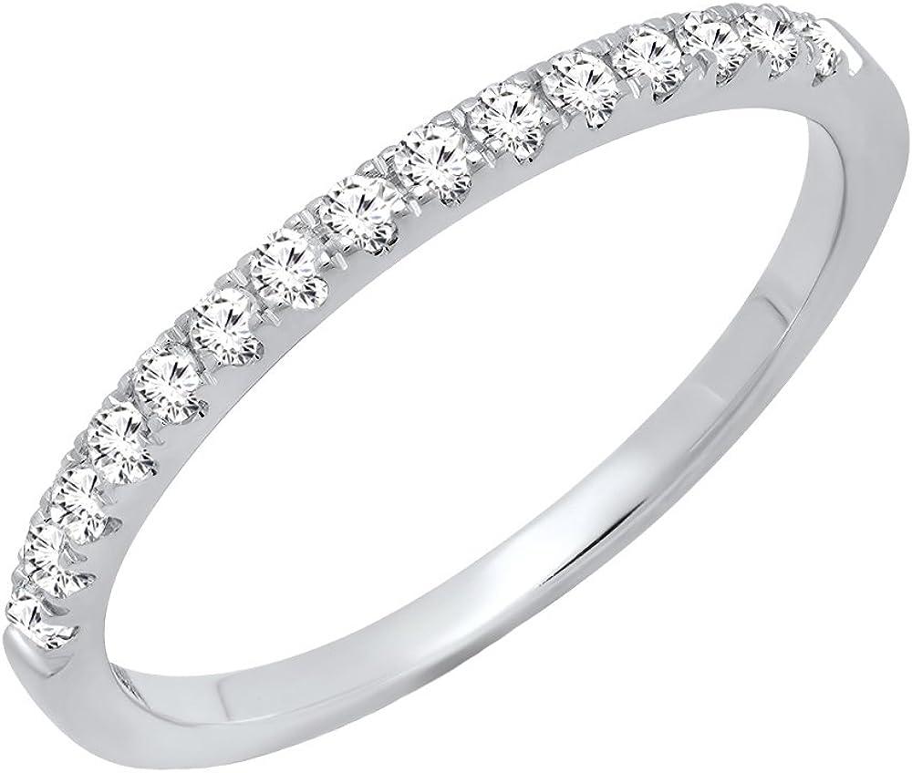 Dazzlingrock Collection 10K Round Gemstone Ladies Bridal Stackable Wedding Band 1/4 CT, White Gold
