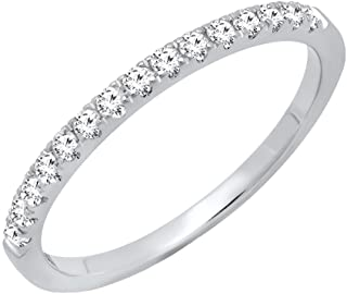 Sponsored Ad - Dazzlingrock Collection 10K Round Gemstone Ladies Bridal Stackable Wedding Band 1/4 CT, White Gold