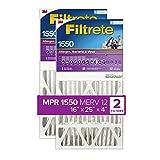 Filtrete 16x25x4, AC Furnace Air Filter, MPR 1550 DP, Healthy Living Ultra Allergen Deep Pleat, 2-Pack (exact dimensions 15.88 x 24.56 x 4.2)