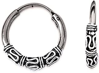 Pendientes criollos de Bali de plata 925/000, 16 mm de diámetro