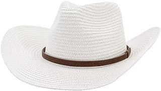 XinLin Du 2019 Men's Women's Western Cowboy Hat Straw Fedora Hat Outdoor Beach Hat Thin Belt Sun Protection Sun Hat