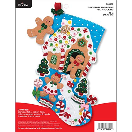 Bucilla 18-inch Christmas Stocking Felt Applique Kit, 86898E Gingerbread Dreams