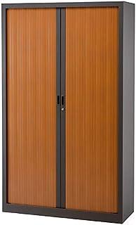 Armoire Monobloc à rideaux   Anthracite   Merisier   HxLxP 1980 x 1200 x 430   Certeo